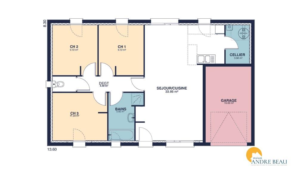 Plan maison pas cher good cool pied chambres avec garage for Plan de maison pas cher a construire